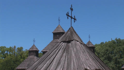 wooden church 4 Stock Video Footage