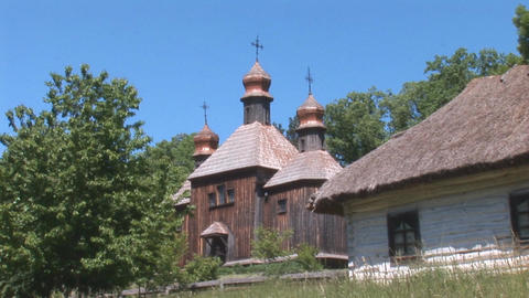wooden church 6 Stock Video Footage