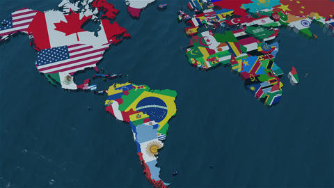 3D World Map Zoom to South America Stock Video Footage