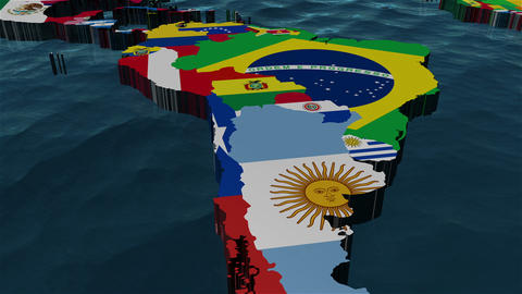 3D World Map Zoom to South America Animation