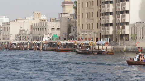 Dubai Creek From Boat 0002 Stock Video Footage
