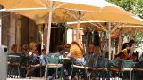 Busy Mediterranean European Cafe 01 Stock Video Footage