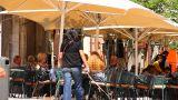 Busy Mediterranean European Cafe 01 Stock Video Footage