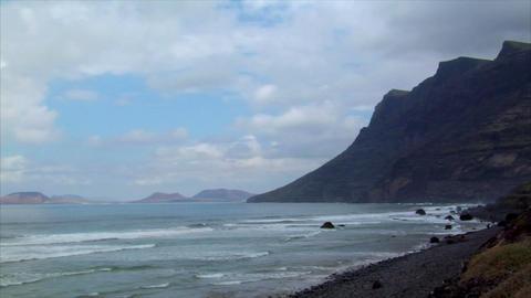 mirador del rio mountain la graciosa island Stock Video Footage