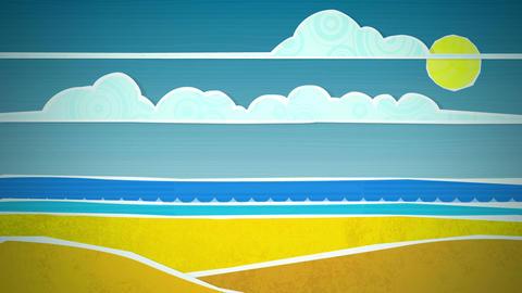 Sunny Beach Scene Loop HD Stock Video Footage