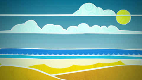 Sunny Beach Scene Loop HD Animation