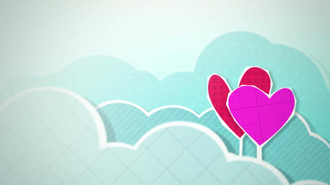 Two Hearts In Clouds Loop HD Stock Video Footage