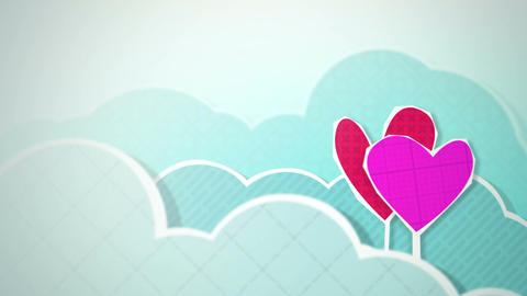 Two Hearts In Clouds Loop HD Animation