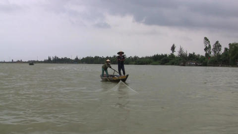 Vietnamese Fisherman Stock Video Footage