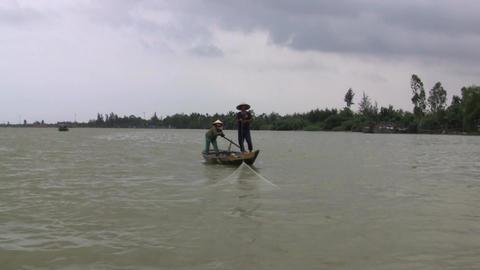 Vietnamese Fisherman Stock Video Footage