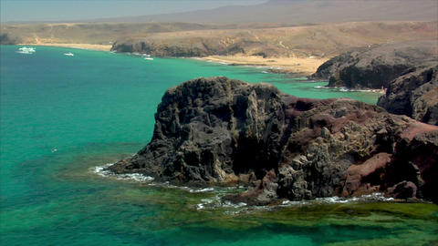 famous lanzarote papagayo beach rocks close Stock Video Footage