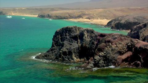famous lanzarote papagayo beach rocks close Stock Video Footage