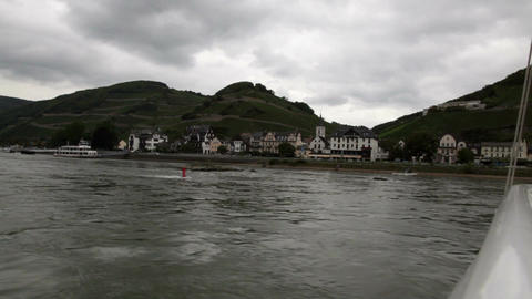 Traveling by cruise ship on a Rhine river 4 Stock Video Footage