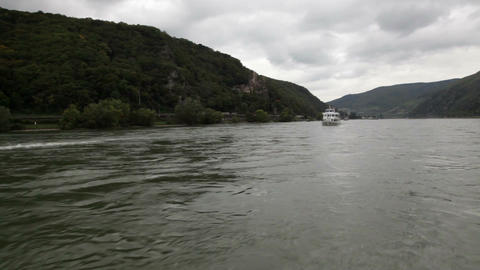 Traveling by cruise ship on a Rhine river 6 Stock Video Footage
