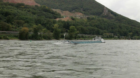 Traveling by cruise ship on a Rhine river 8 Stock Video Footage