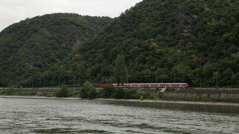 Traveling by cruise ship on a Rhine river 16 Stock Video Footage