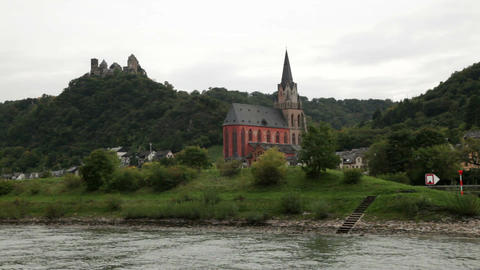 Castle near the Rhine river 2 Stock Video Footage