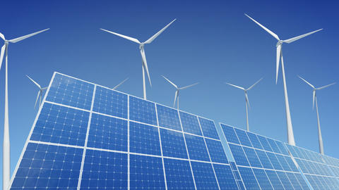 Solar Panel Wind Turbine A1W HD Stock Video Footage