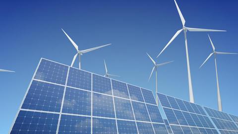 Solar Panel Wind Turbine B1W HD Stock Video Footage
