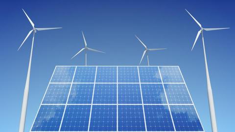 Solar Panel Wind Turbine C1W HD Stock Video Footage