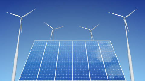 Solar Panel Wind Turbine C1W HD Animation