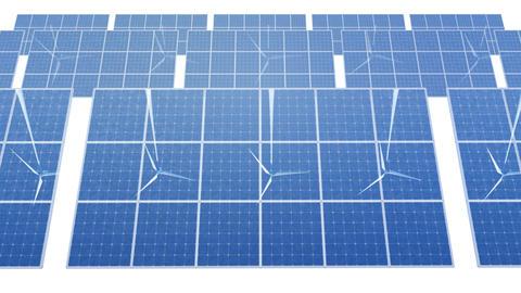 Solar Panel Wind Turbine D1W HD Stock Video Footage