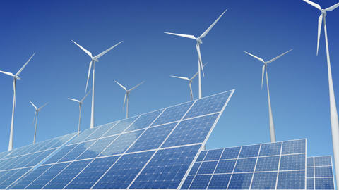 Solar Panel Wind Turbine E1W HD Animation