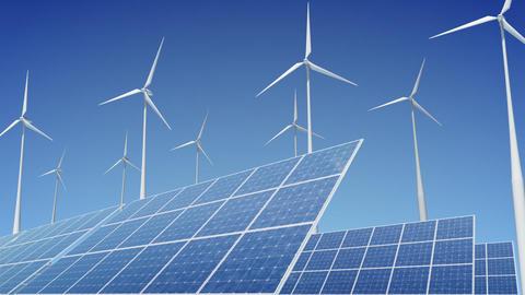 Solar Panel Wind Turbine E1W HD Stock Video Footage
