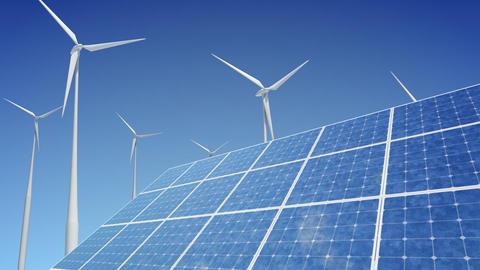 Solar Panel Wind Turbine G1W HD Animation