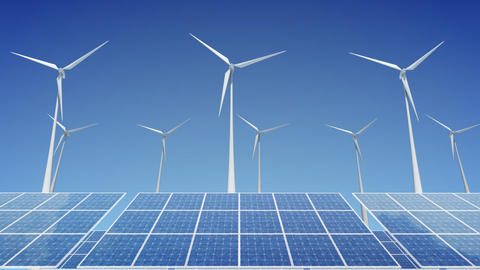 Solar Panel Wind Turbine H1W HD Animation