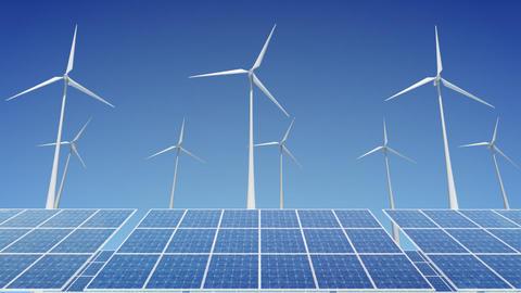 Solar Panel Wind Turbine H1W HD Stock Video Footage