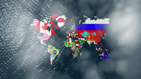 3D Wide World With Flags on Sea Slow Zoom With Clouds Stock Video Footage