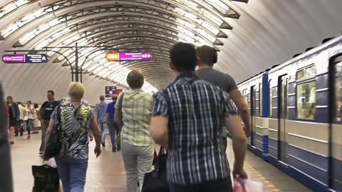 Sadovaya, arrival, St. Petersburg, Russia Footage