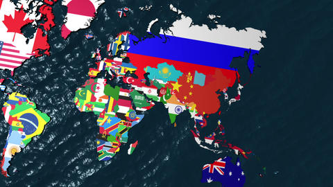3D Flag World with Zoom to India Stock Video Footage