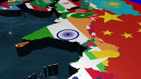 3D Flag World with Zoom to India Animation
