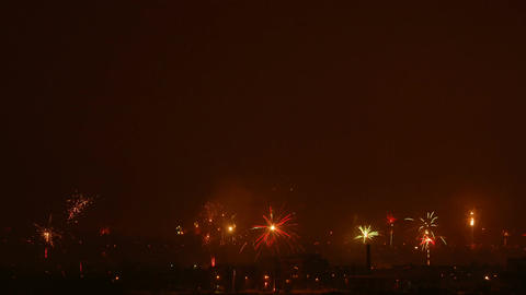 Time-lapse of New-Year switch fireworks over the city 2 Stock Video Footage