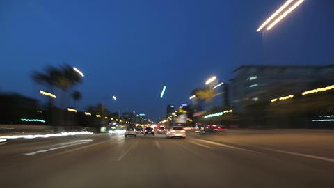 Night Road Rage Camera Car Barcelona 4k Footage