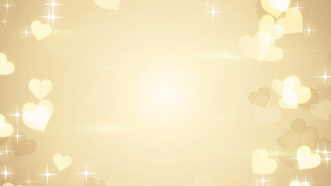 gold heart shapes on bright background loop, Stock Animation