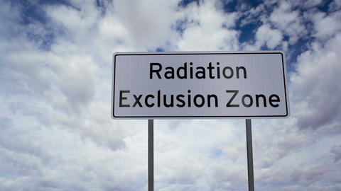 Sign Radiation Exclusion Zone Clouds Timelapse stock footage