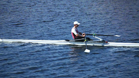 Single scull rowing Live Action