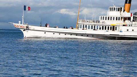 Boat On Geneva Lake, Switzerland stock footage