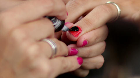 Make Up Making Red Nails Glossy Footage