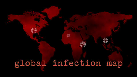 Red Global Infection Map Epidemic stock footage
