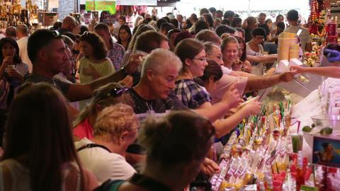 Crowd Shopping in La Boqueria Market in Barcelona Footage