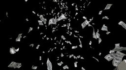 4K one hundred dollar banknotes falling down, alph Animation