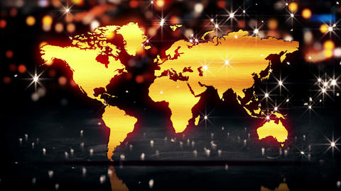 World Map Gold City Light Shine Bokeh 3D Backgroun Animation