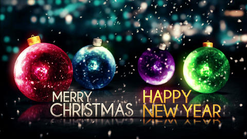 Merry Christmas Happy New Year Colorful Baubles Ba Animation