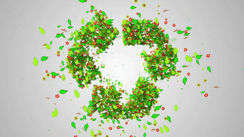 Recycle Symbol Green leaves particles butterfly -  Animation