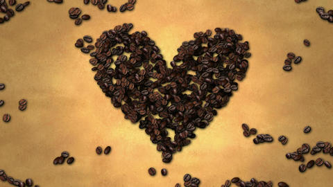 Heart Shape Coffee Bean on Old Paper Stop Motion 4 Animation
