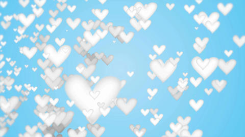 White Love Shape Particles looping blue background Animation
